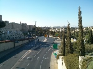 Overlooking the valley outside the walls of the Old City 9am