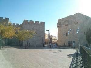 Not the Jewish quarter.  This is Jaffa Gate at 9am.