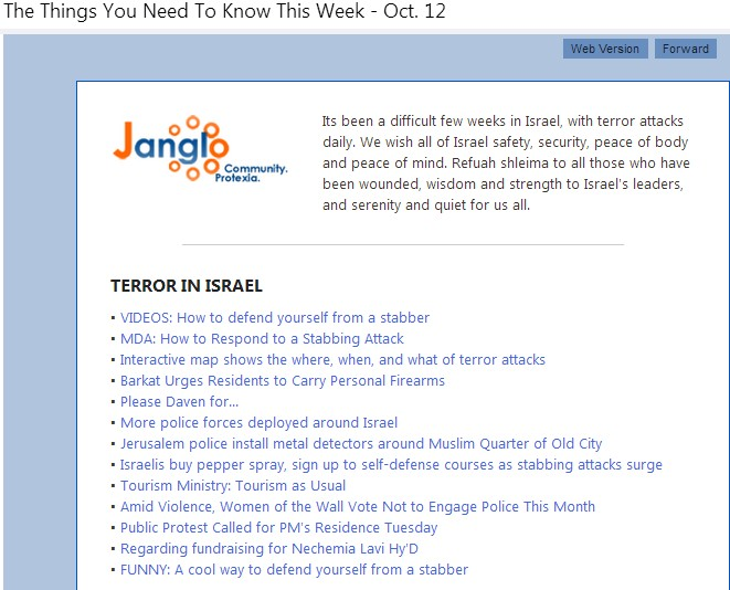 An email I received giving me links to information that can help during this wave of terror